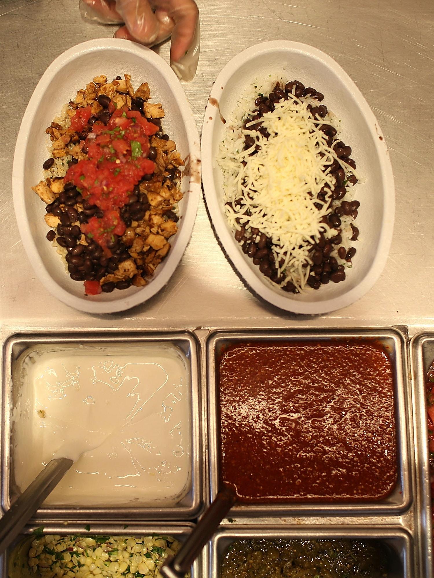 Chipotle's burrito bar.