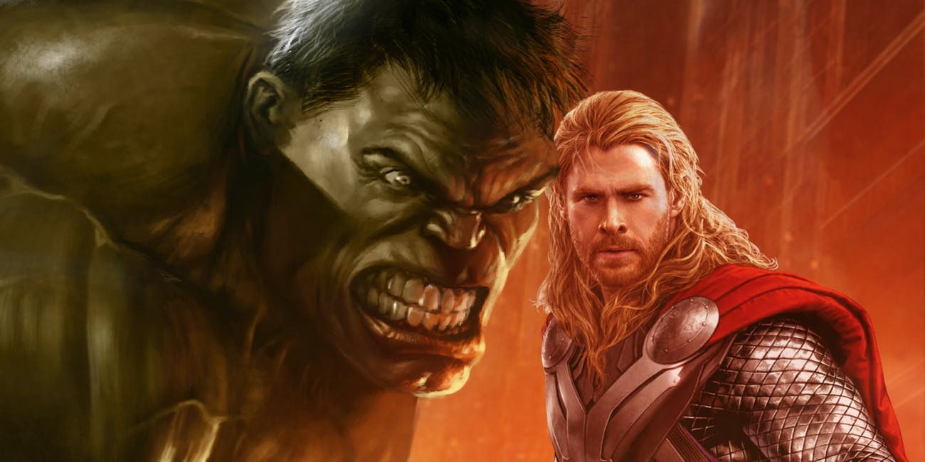 A fan rendering of Hulk and Thor in 'Thor Ragnarok'