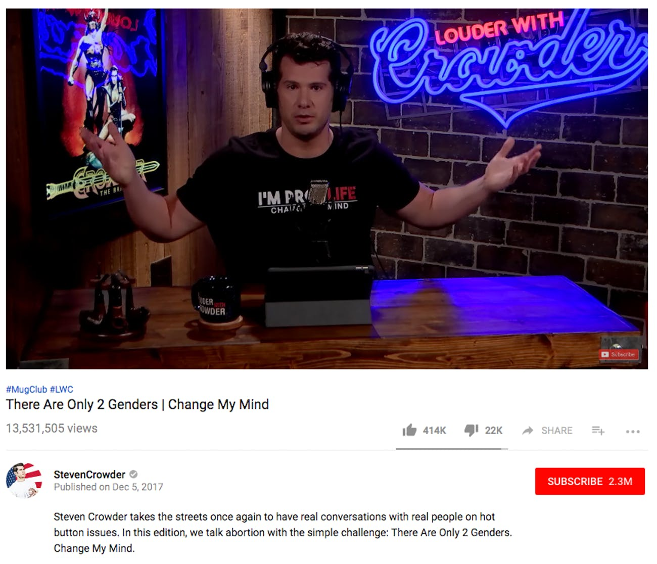 A screenshot of Crowder's video on Youtube.
