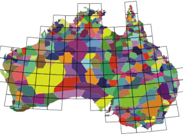 Australia language map region simulation evolution social group