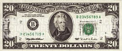 An image of the $20 note that lasted from 1990 to 1998.