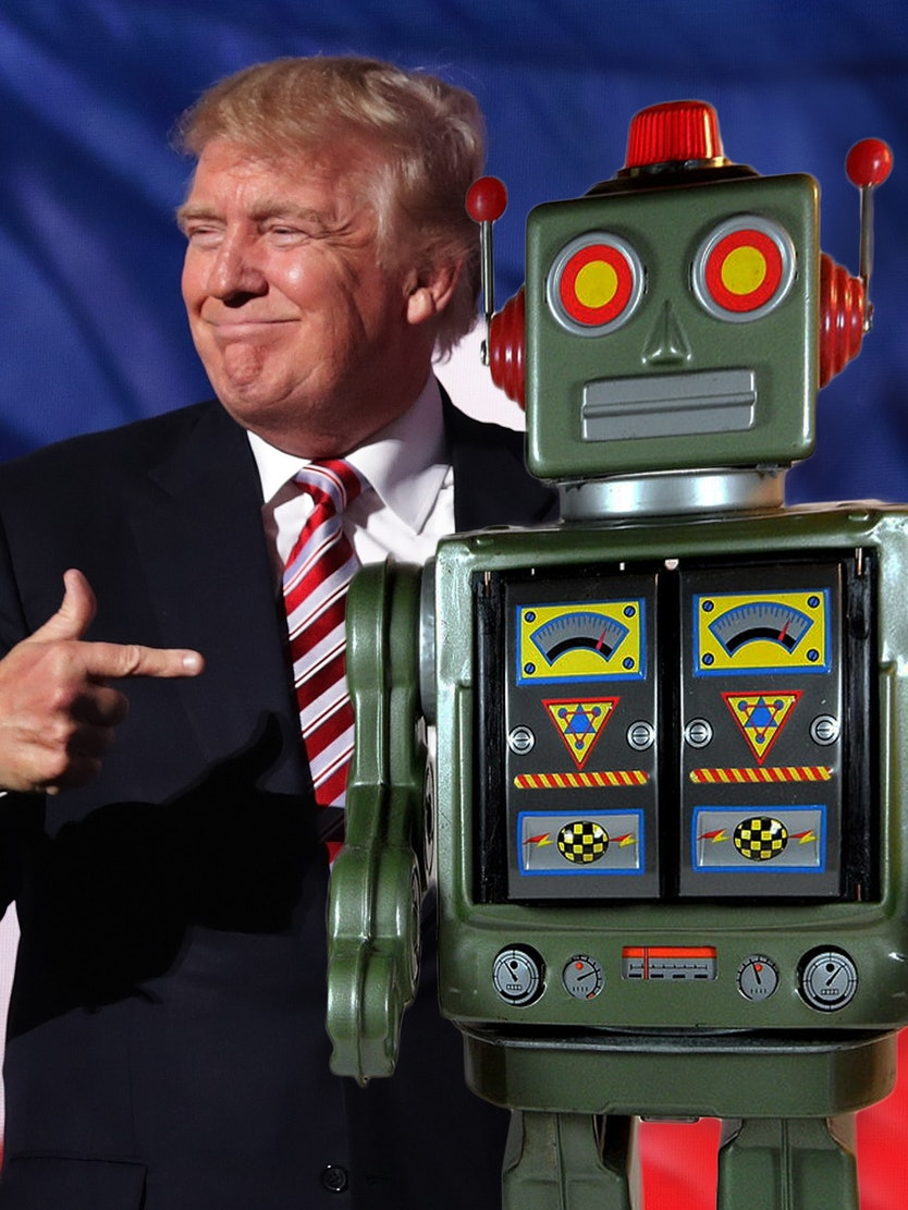 Republican presidential candidate Donald Trump speaks to people who aren't afraid of robots at a rally in Cleveland, Ohio.