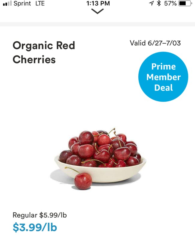Prime discount for Whole Foods.