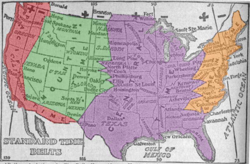 U.S. time zones in 1913. Time zones are political, not geographical.