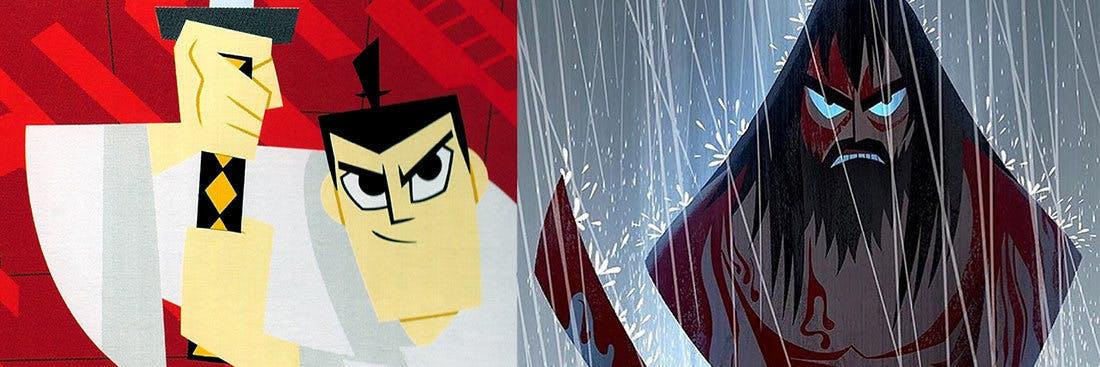 Samurai Jack's original character compared to Toonami's 2017 version.