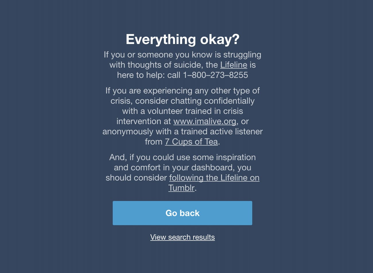 Tumblr's anti-Blue Whale warning