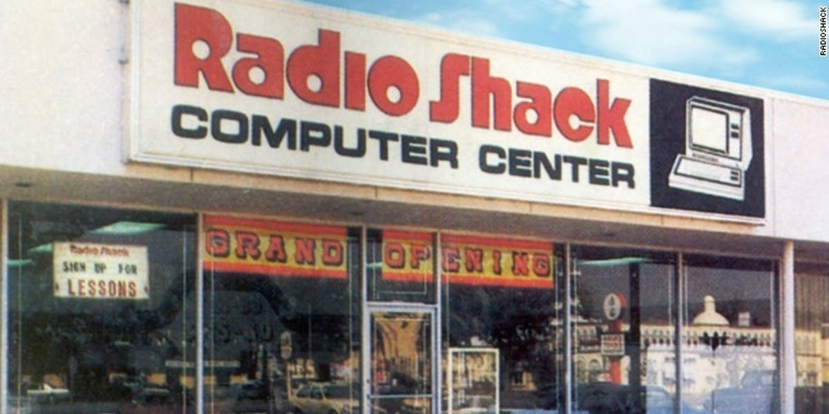 Peak Radio Shack: a grand opening in the 1980s.