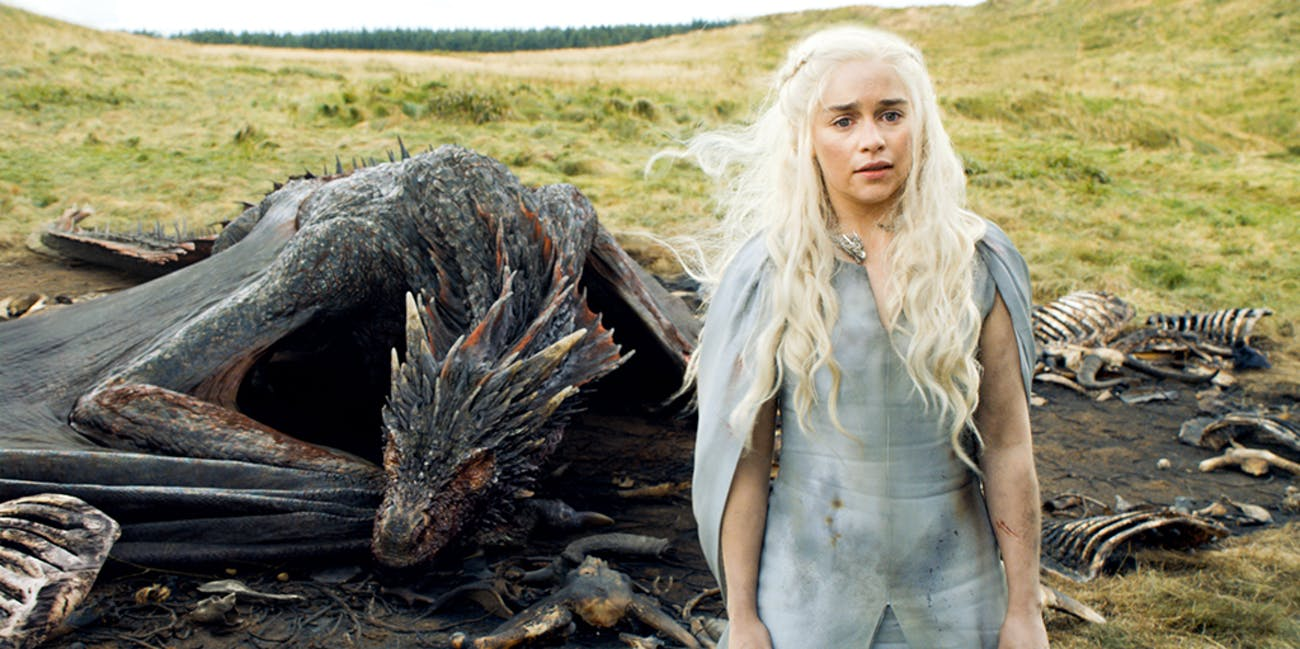 Daenerys (Emilia Clarke) and her dragon, Drogon, in 'Game of Thrones'