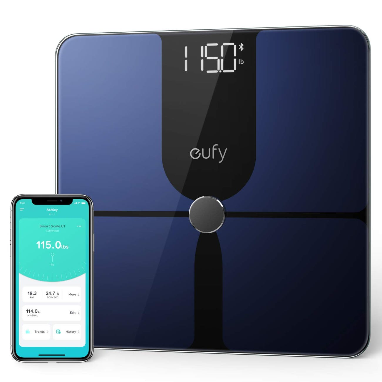 eufy Smart Scale P1 with Bluetooth, Large LED Display, 14 Measurements, Weight/Body Fat/BMI/Fitness Body Composition Analysis, Auto On/Off, Auto Zeroing, Tempered Glass Surface, Black/White, lbs/kg