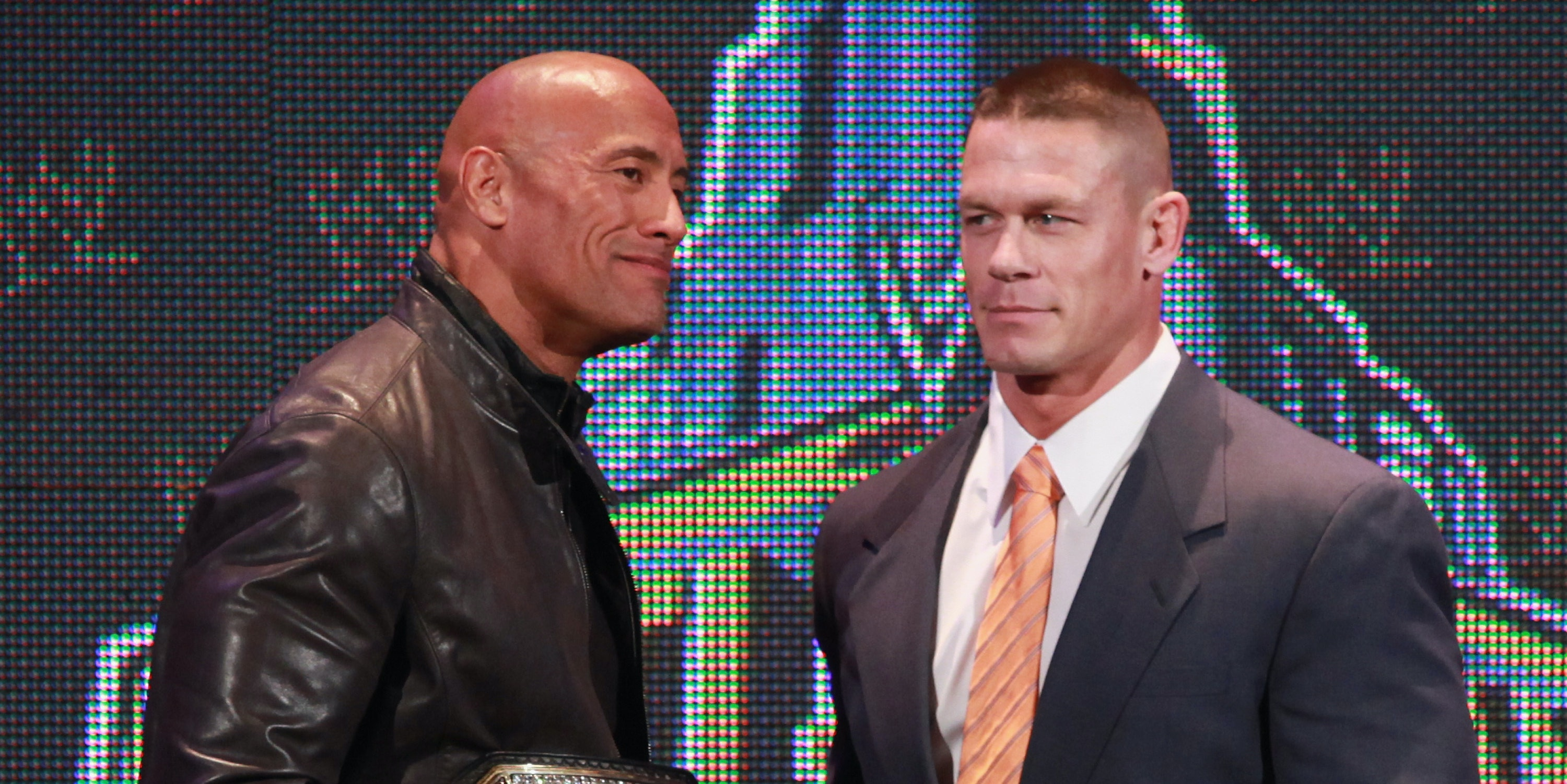 Dwayne Johnson and John Cena at the WrestleMania 29 press conference from April 4, 2013 in New York City.  (Photo by Taylor Hill/Getty Images)