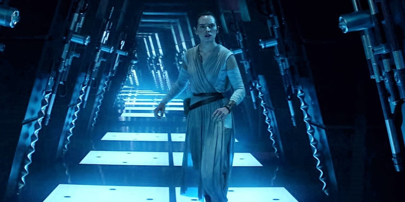 Rey in Cloud City during a flashback in 'The Force Awakens'
