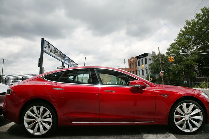 A Tesla Model S in Brooklyn, New York.