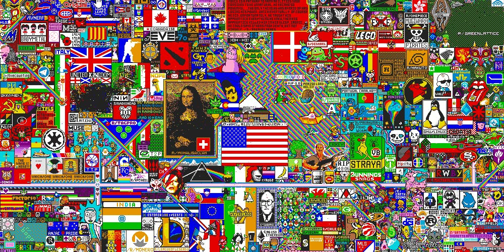 Reddit users collaborated on a multitude of artwork the massive r/place experiment.