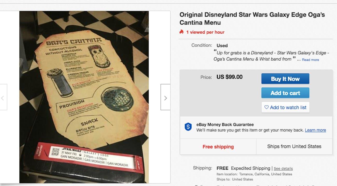 galaxy's edge menu ebay star wars