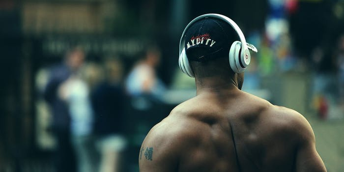 Muscle Man With Headphones