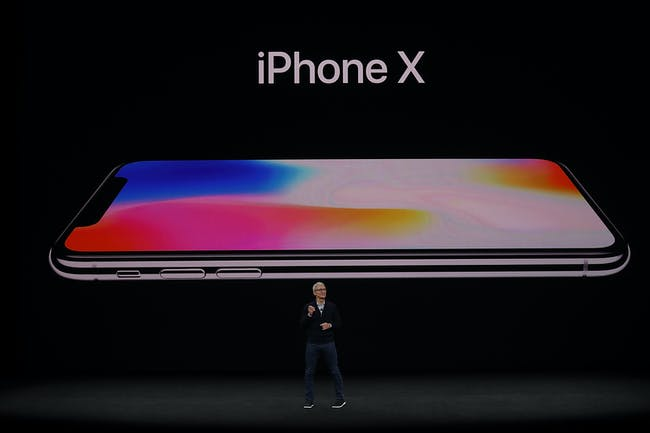 Tim Cook announces the iPhone X.