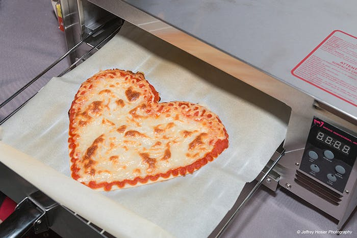 Customers can choose to make their pizza heart-shaped.