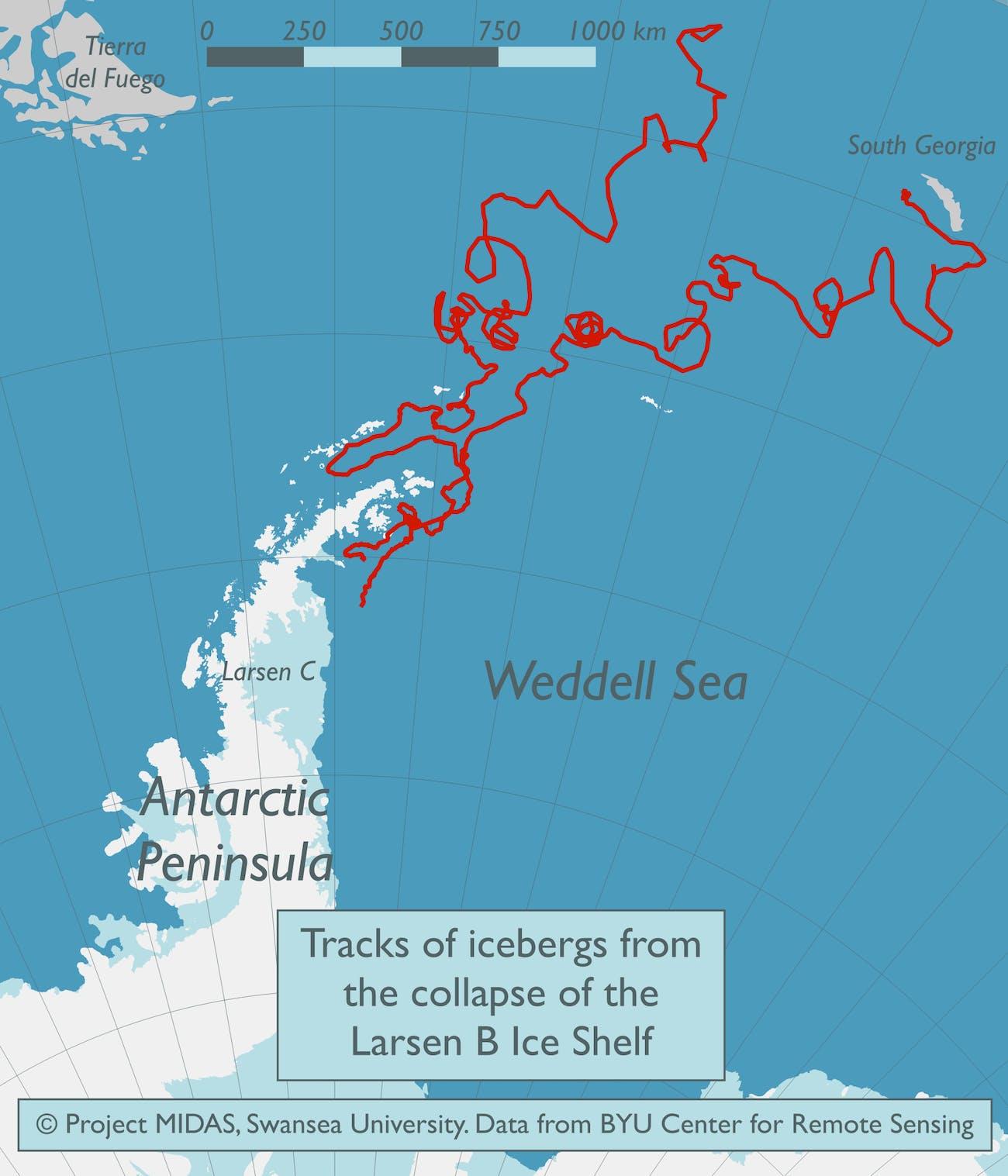 antarctica larsen c A68 where will it go