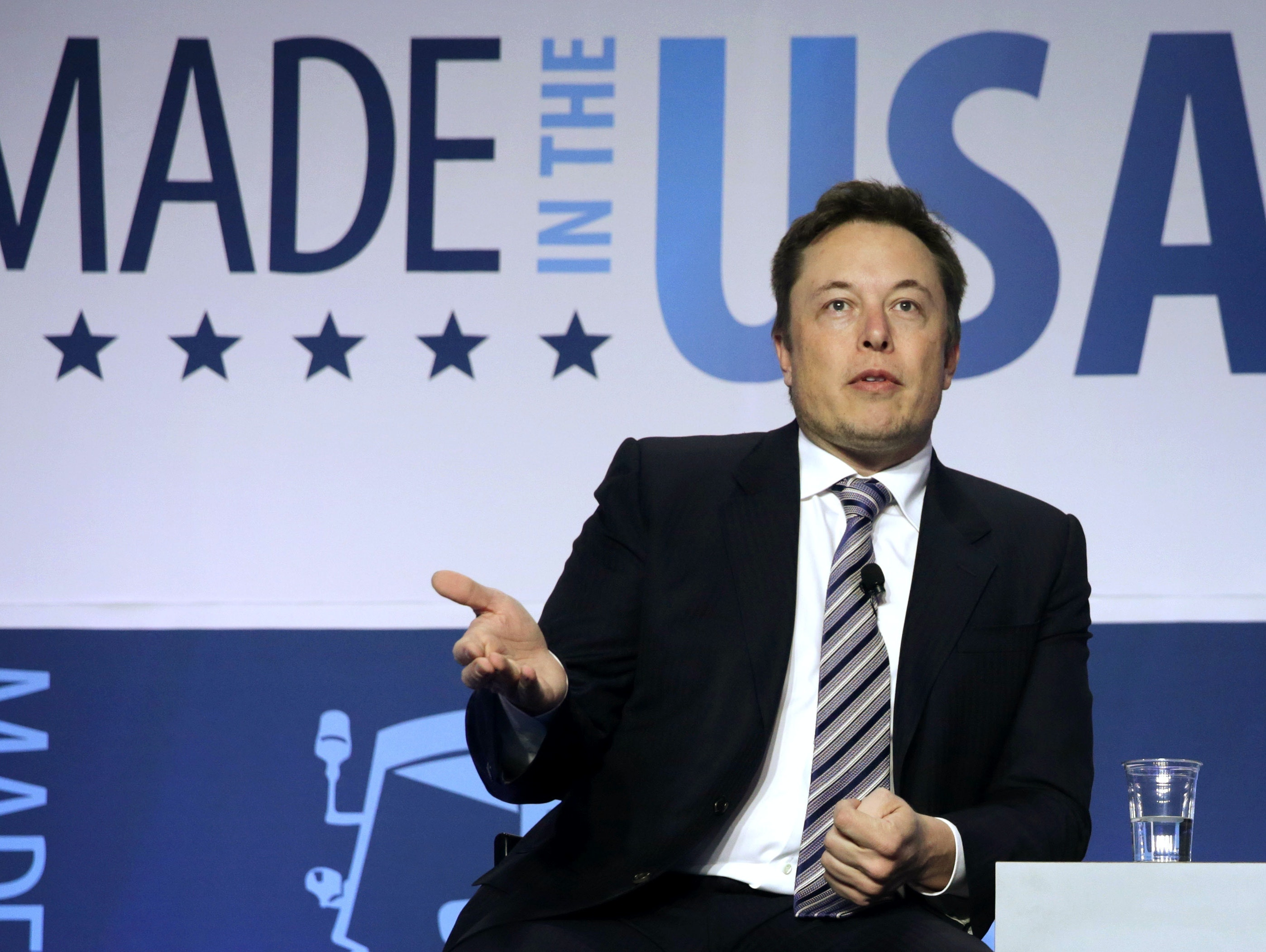 CEO and chief designer of SpaceX Elon Musk participates in a discussion during the 2014 annual conference of the Export-Import Bank (EXIM) April 25, 2014 in Washington, DC.