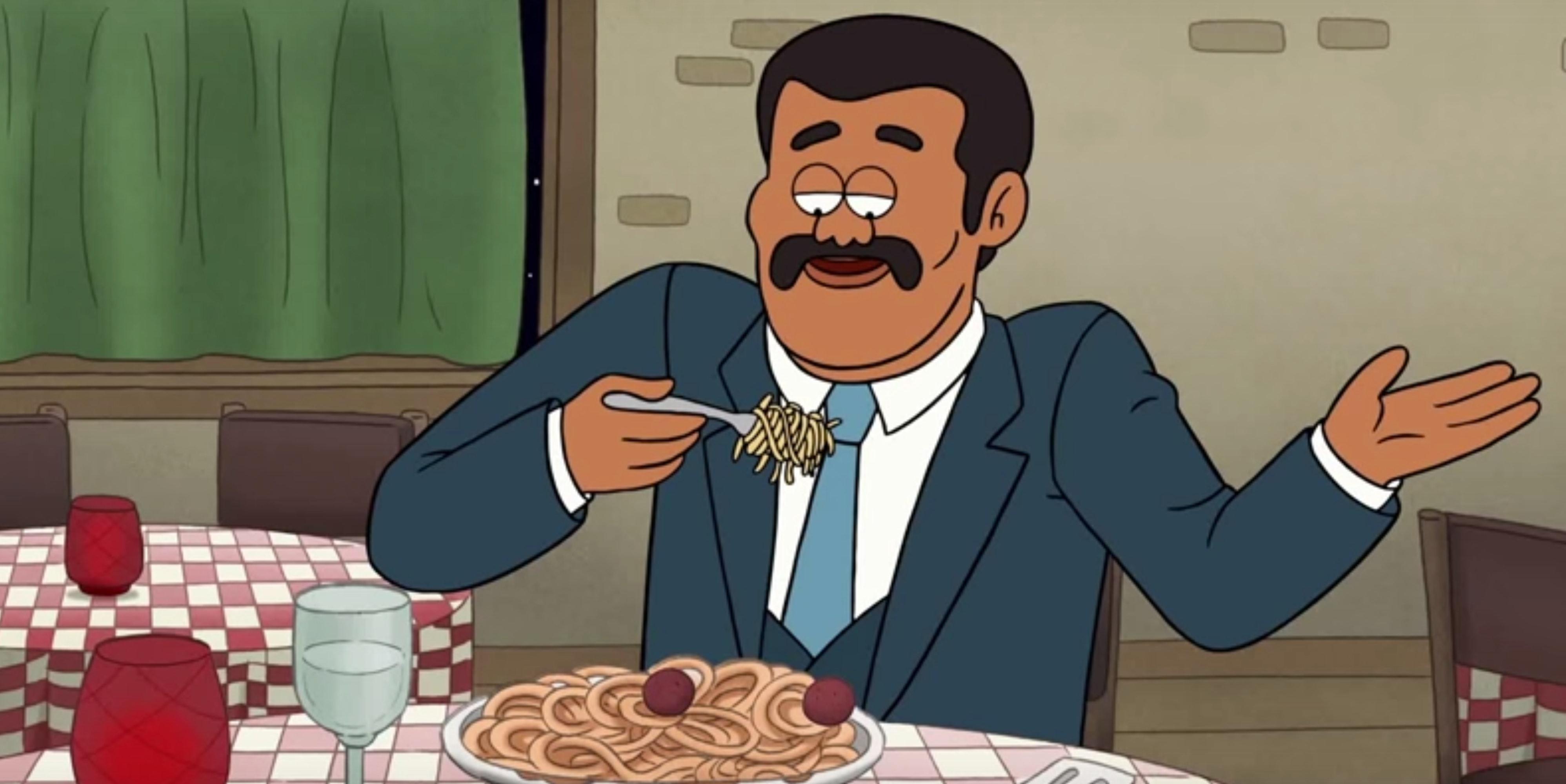 Neil deGrasse Tyson eats a scientific dinner.