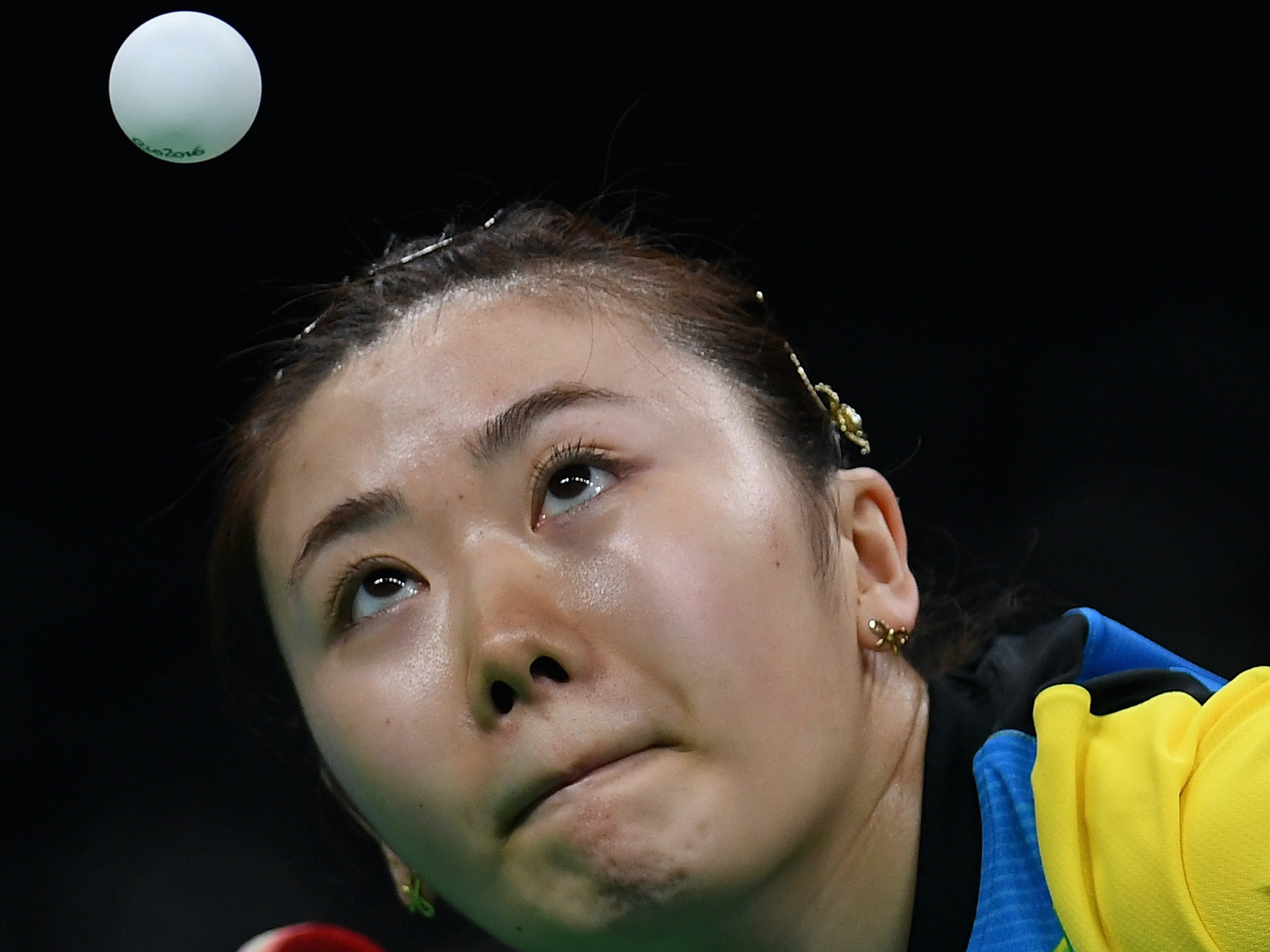 RIO DE JANEIRO, BRAZIL - AUGUST 10:  Ai Fukuhara of Japan in action during her Womens Table Tennis Singles Semi Final match against  Xiaoxia Li of China at Rio Centro on August 10, 2016 in Rio de Janeiro, Brazil.  (Photo by Laurence Griffiths/Getty Images)