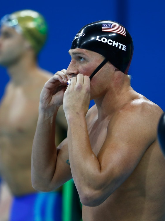RIO DE JANEIRO, BRAZIL - AUGUST 11:  Ryan Lochte of the United States prepares in the Men's 200m Individual Medley Final on Day 6 of the Rio 2016 Olympic Games at the Olympic Aquatics Stadium on August 11, 2016 in Rio de Janeiro, Brazil.  (Photo by Clive Rose/Getty Images)