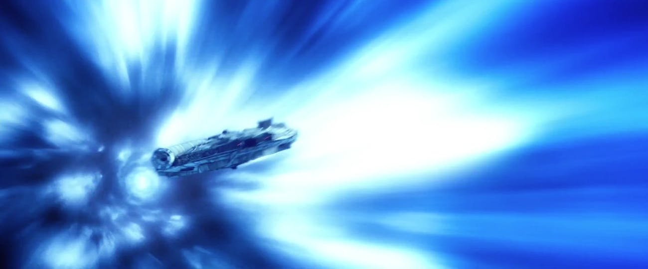 The Millennium Falcon in hyperspace in 'The Force Awakens'