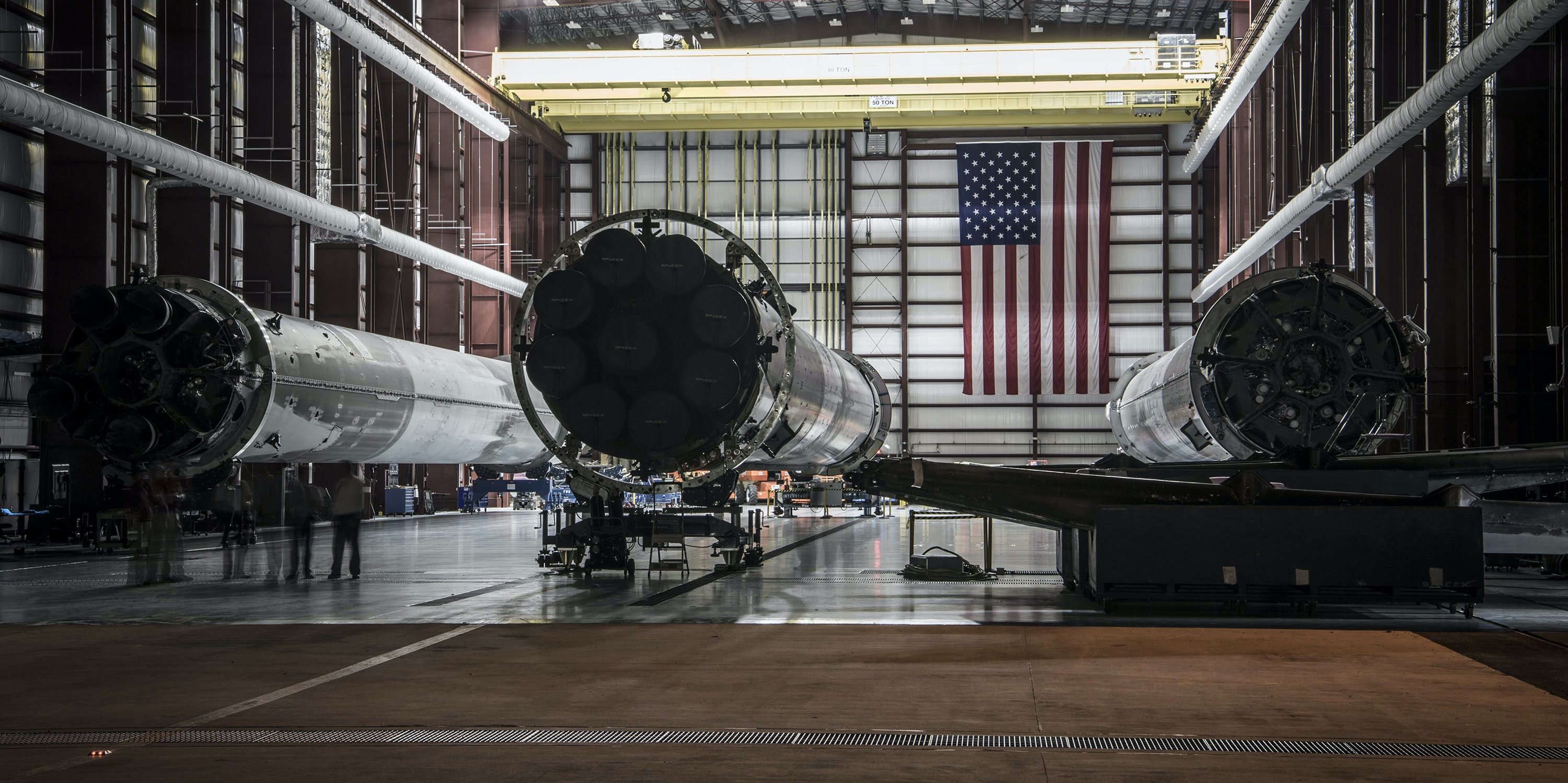 CAPE CANAVERAL, FL - MAY 14: In this handout provided by the National Aeronautics and Space Administration (NASA), landed SpaceX rockets sit in Launch Complex 39 at the Kennedy Space Center on May 14, 2016 in Cape Canaveral, Florida. (Photo by NASA via Getty Images)