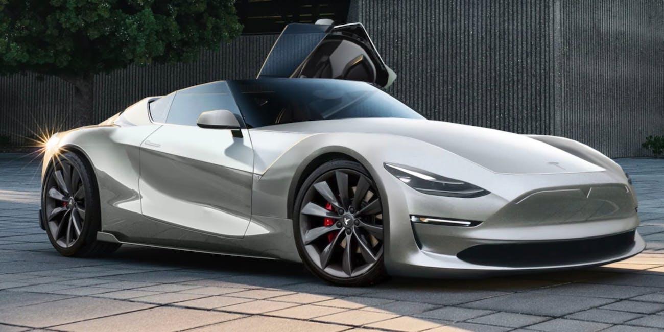 Convertible Tesla Roadster Elon Musk