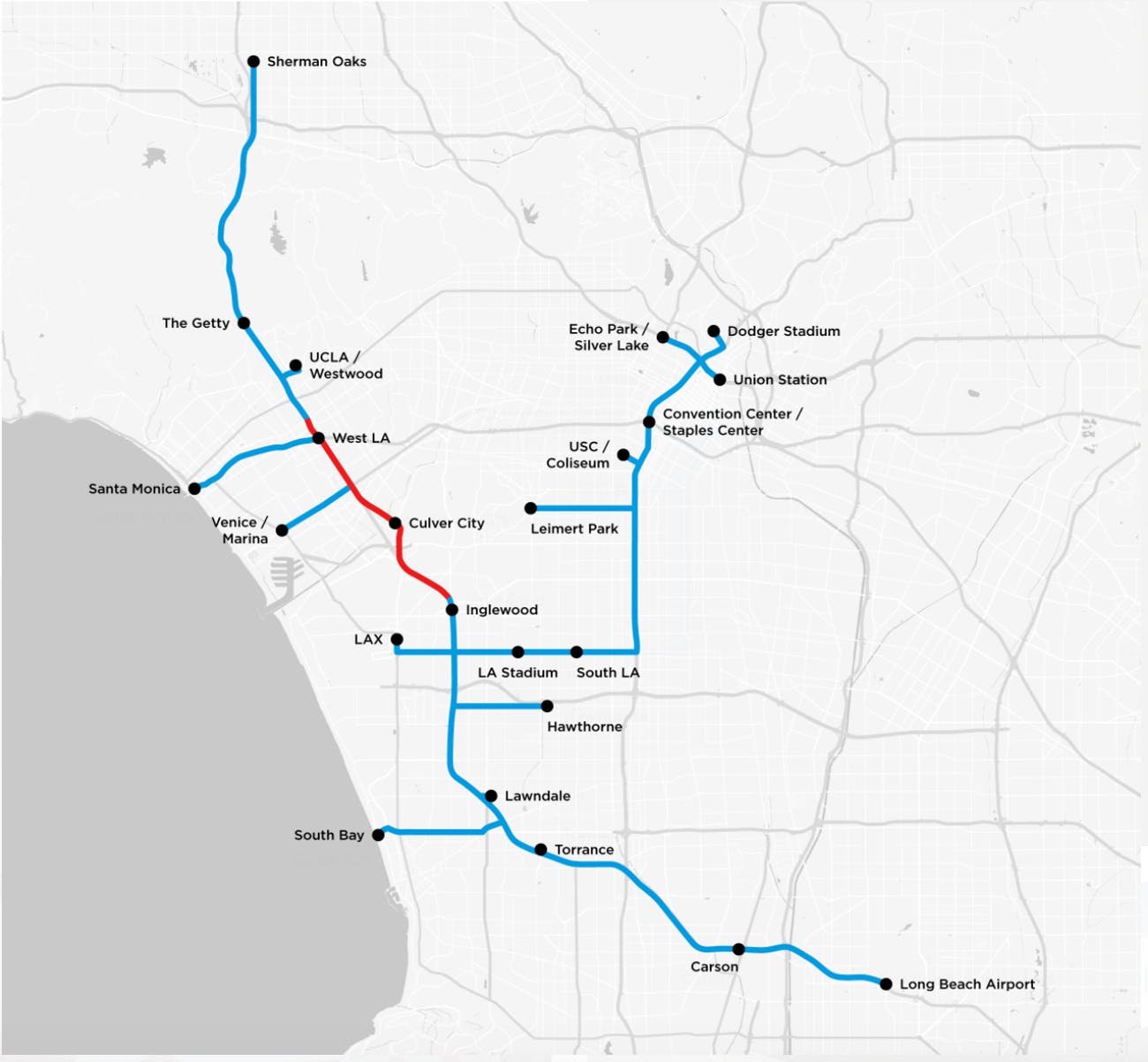 The Boring Company's initial proof-of-concept tunnel is depicted in red, while the blue lines represent how it could be expanded.