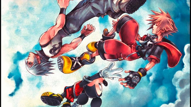 Riku, Mickey, and Sora in art for 'Dream Drop Distance'.