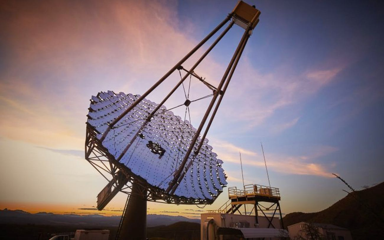 The VERITAS array searches for high-energy gamma rays and cosmic rays from its location in the Santa Rita Mountains