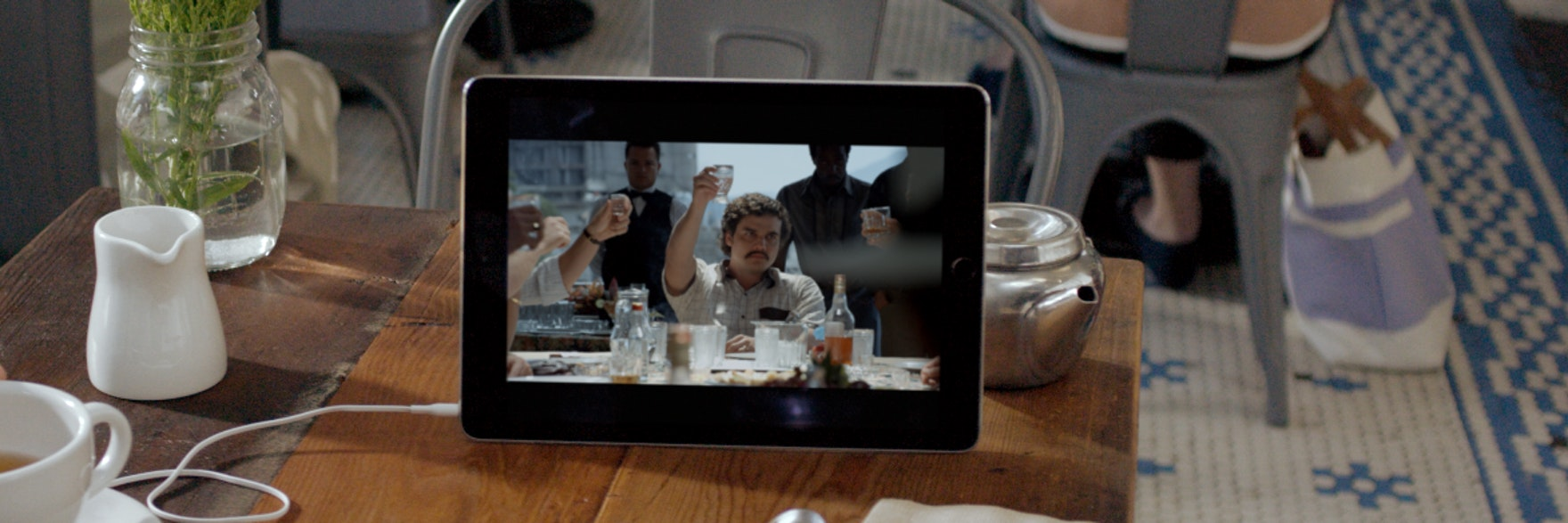 The Netflix original series 'Narcos' plays on an iPad in this publicity shot released by Netflix.