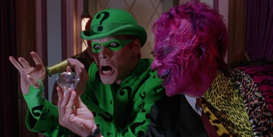 Jim Carrey and Tommy Lee Jones as Riddler and Two Face in Warner Bros. Batman Forever