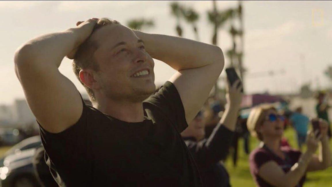 Elon Musk watching Falcon Heavy rise