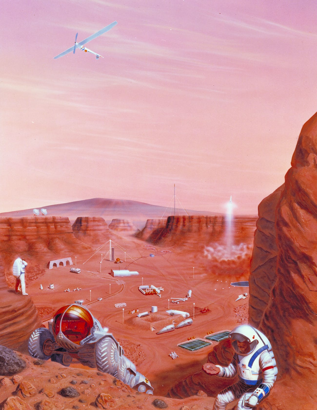 Artist's concept of possible exploration of the surface of Mars.