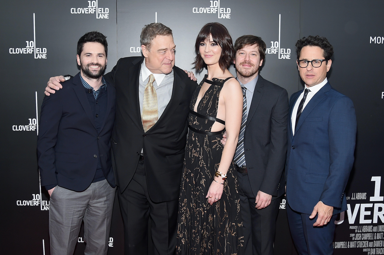 Dan Trachtenberg, John Goodman, Mary Elizabeth Winstead, John Gallagher Jr. and J.J. Abrams attend the '10 Cloverfield Lane' New York premiere.