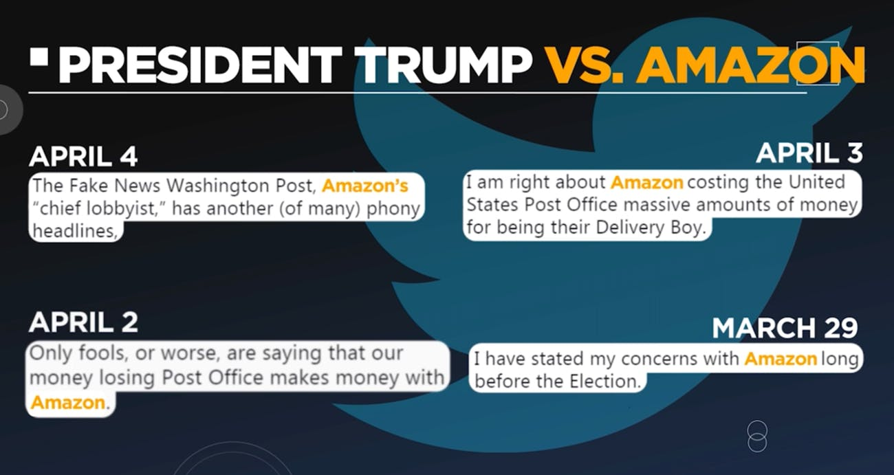 trump tweets amazon USPS