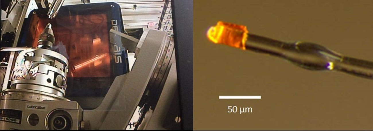 On the left is the gyroscope, designed to rotate the crystal through a series of different angles as the X-ray beam hits it. Behind it is the detector panel which records the diffraction spots. On the right is a zoomed in picture of a single crystal, mounted on a glass fiber attached to the tip of the gyroscope.