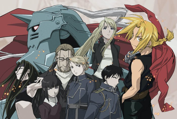 """Much of the core cast in the animated 'Fullmetal Alchemist"""" with Ed on the far-right and Alphonse in the background."""
