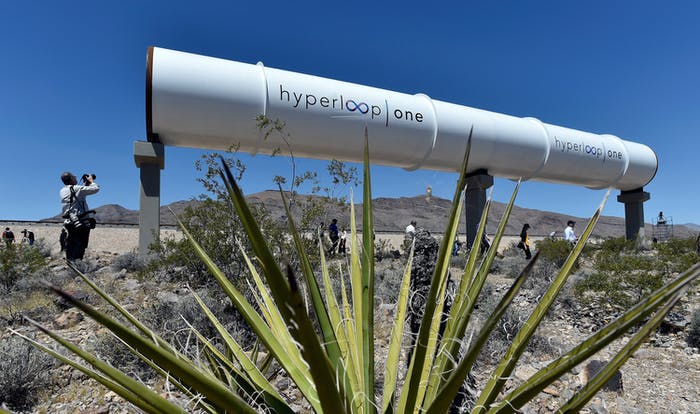 Hyperloop tubes are displayed during the first test of the propulsion system at the Hyperloop One Test and Safety site on May 11, 2016 in North Las Vegas, Nevada. The company plans to create a fully operational hyperloop system by 2020.