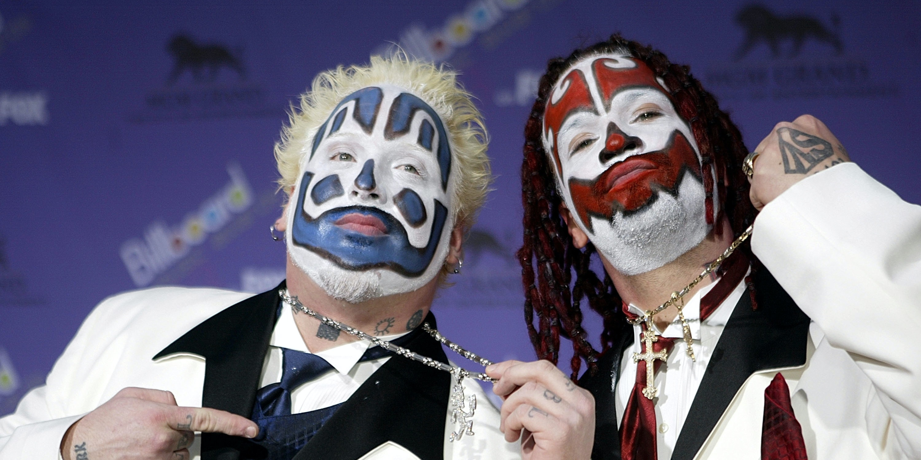 The Insane Clown Posse attends the 2003 Billboard Music Awards at the MGM Grand Garden Arena December 10, 2003 in Las Vegas, Nevada.  The 14th annual ceremony airs live tonight on FOX 8:00-10:00 PM ET Live/PT.