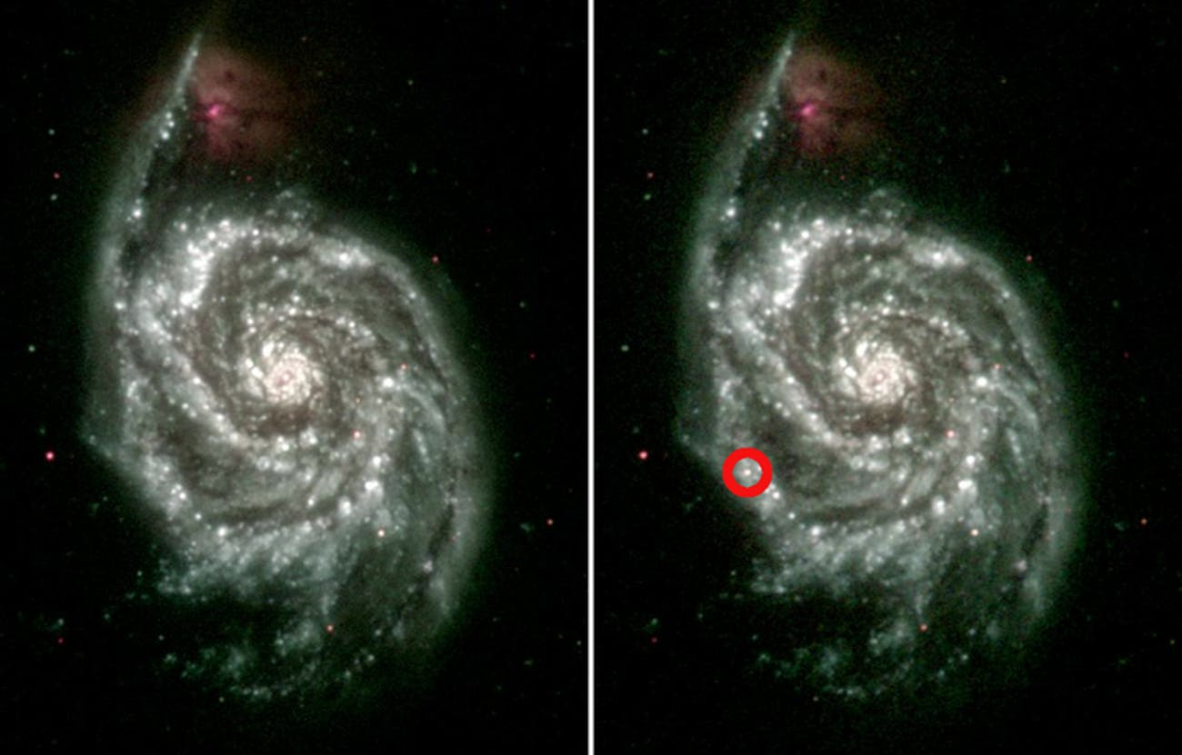 On the left is an ultraviolet composite made from several images of the Whirpool Galaxy (M51) taken between 2005-2007. The image on the right was made in June 2011, shortly after astronomers detected the explosion of a massive star in one of the galaxy's outer spiral arms. The object is marked by the red circle.