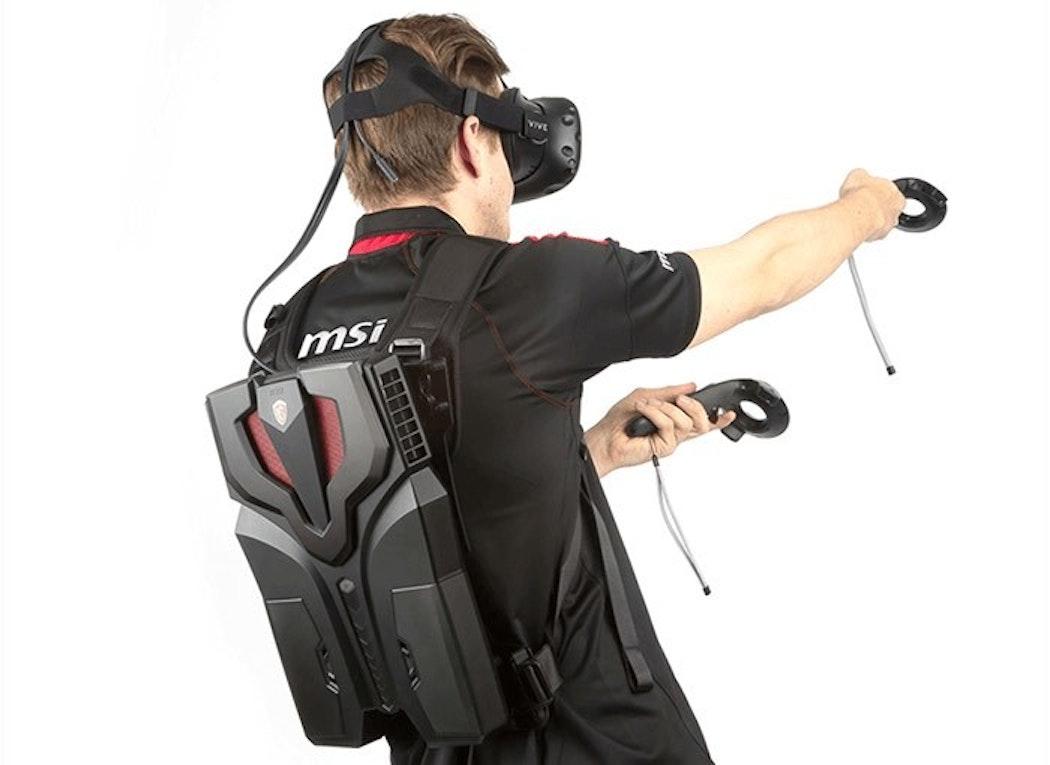 A backpack virtual reality kit.