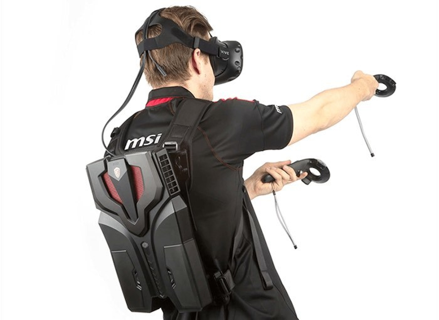 A backpack virtual reality kit.