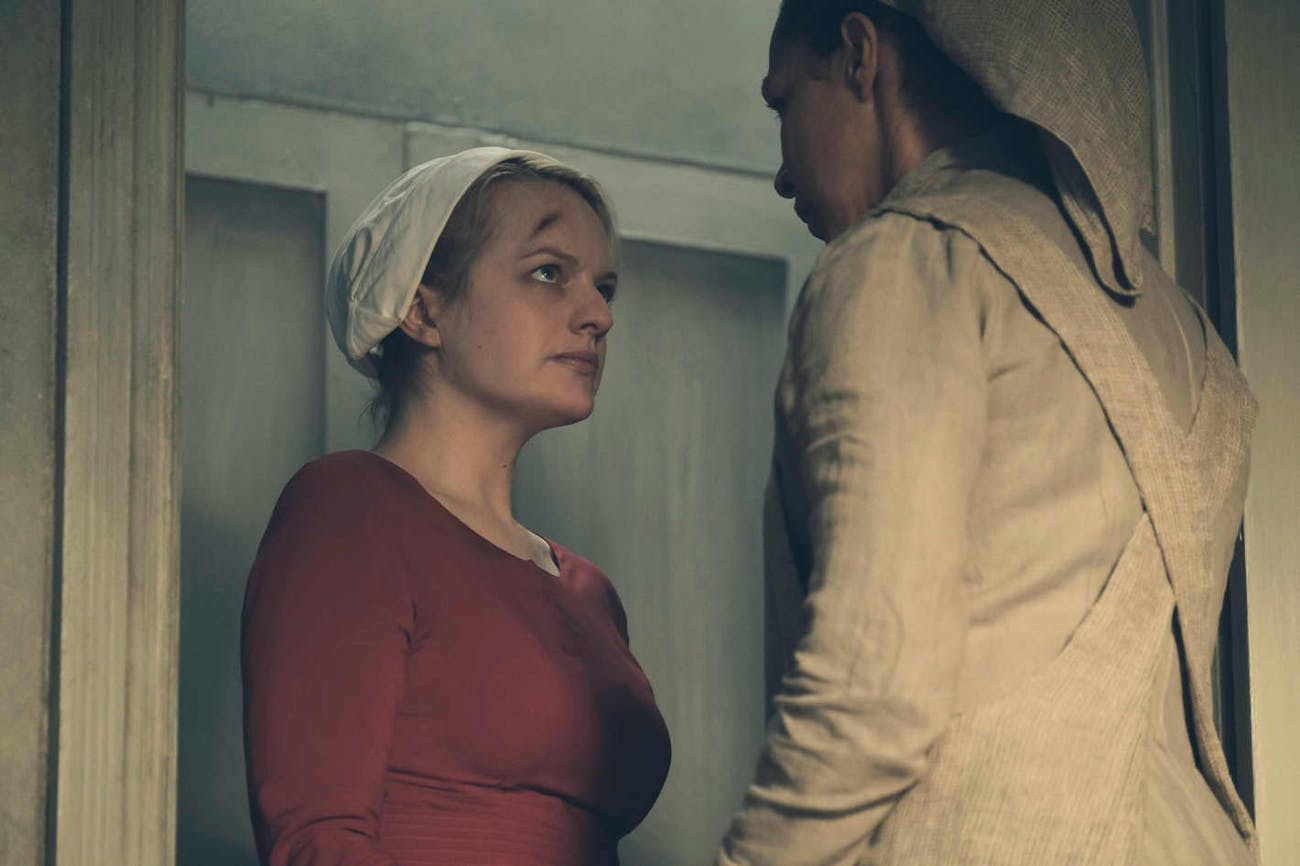 Elizabeth Moss and Amanda Brugel in 'The Handmaid's Tale'