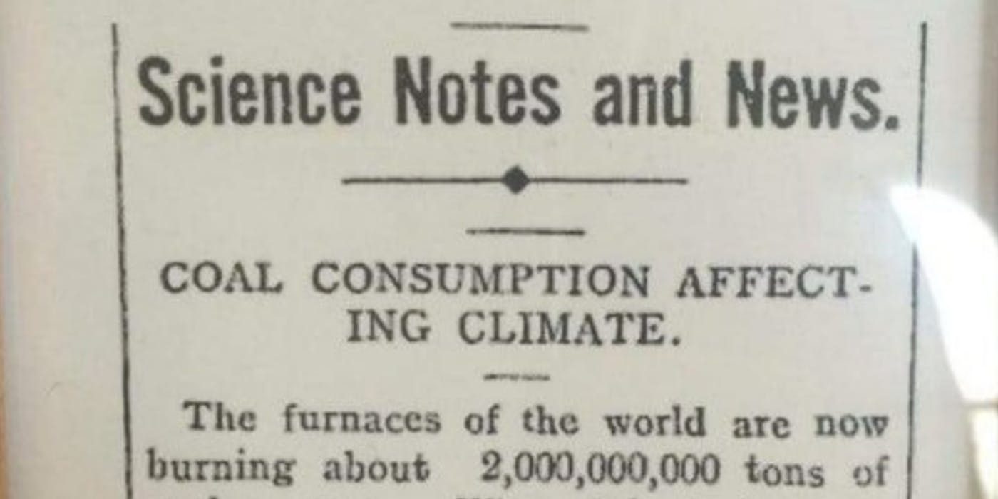 106-year-old Newspaper Article Warning Readers About Climate Change Goes Viral on Reddit