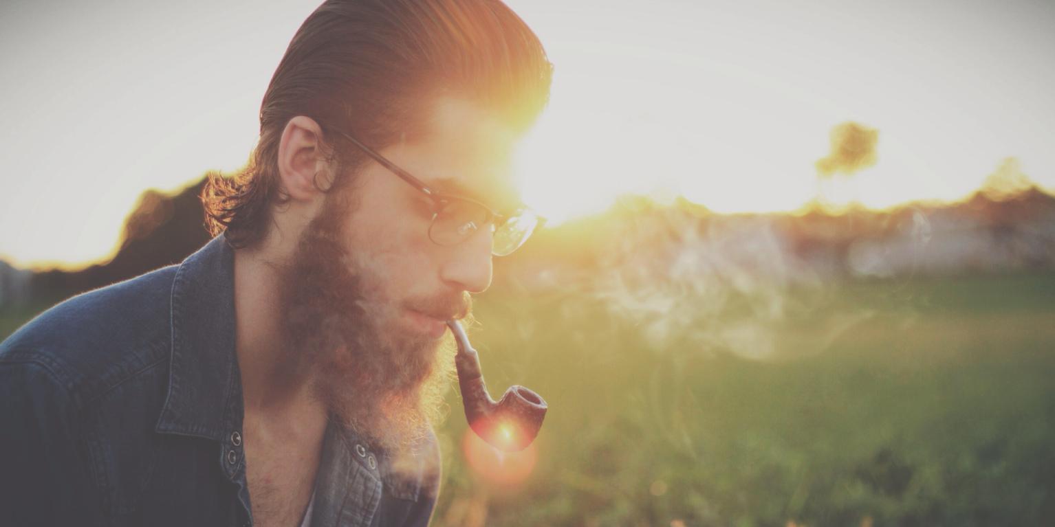 Hipster man with beard.