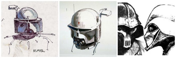 Early sketches of Boba Fett and Vader.