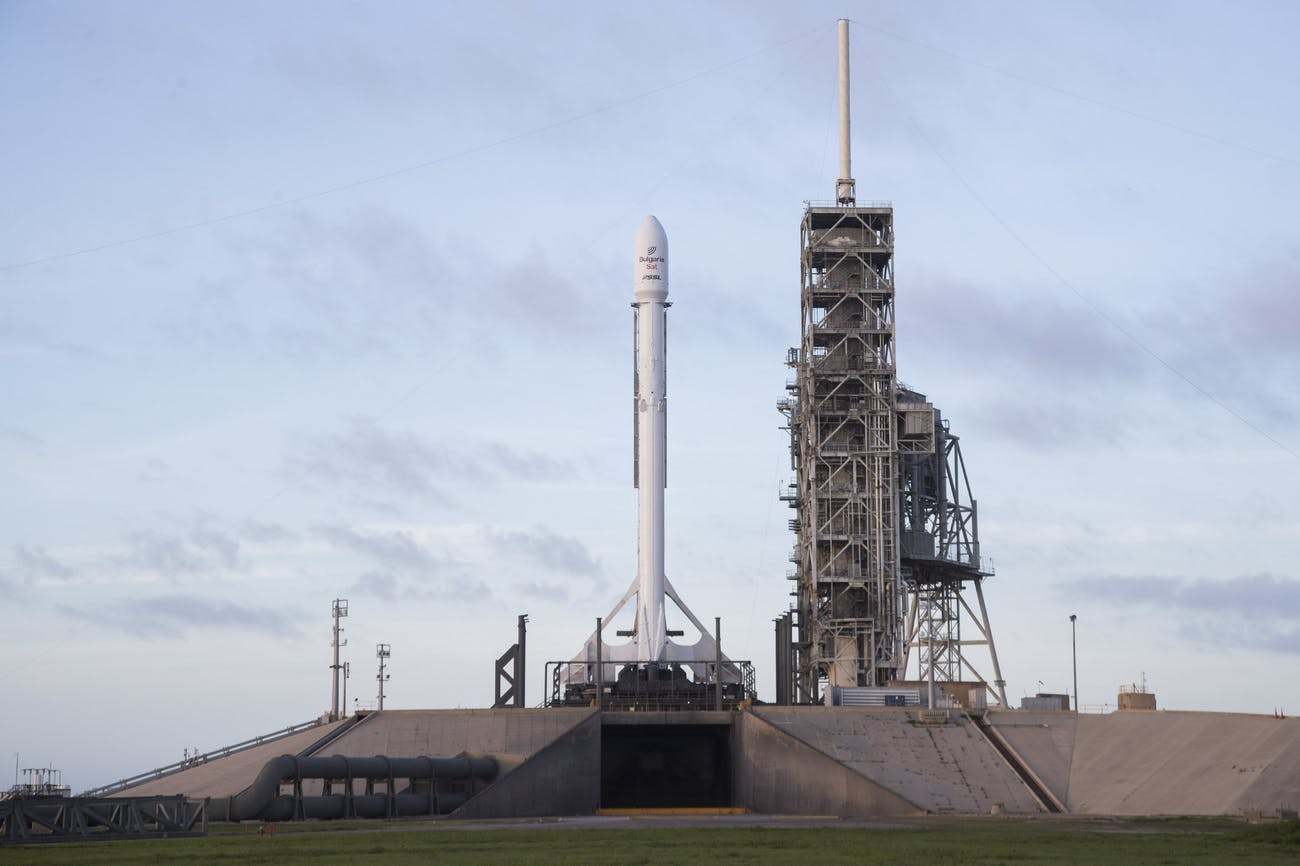 Falcon 9 and BulgariaSat-1 vertical on Pad 39A